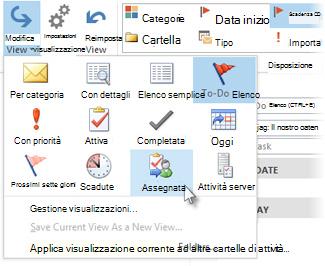 Comando per la visualizzazione delle attività assegnate sulla barra multifunzione