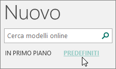 Screenshot delle categorie dei modelli predefiniti in Publisher.