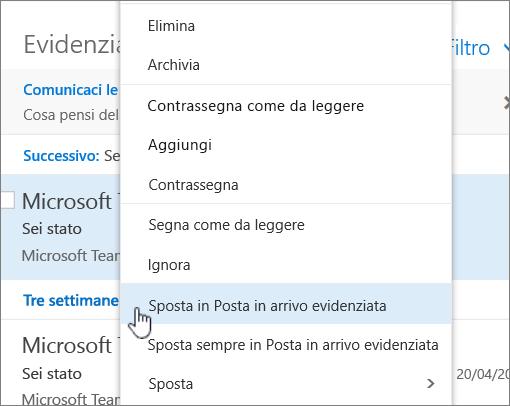 Screenshot della posta in arrivo con Filtro > Mostra Posta in arrivo evidenziata selezionato.