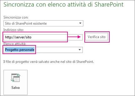 Salvare il progetto in SharePoint