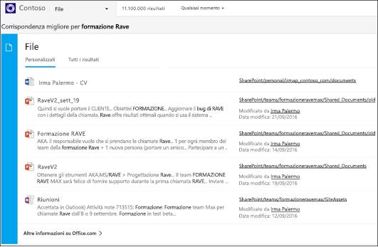schermata: ricerca di documenti con Bing per le aziende.