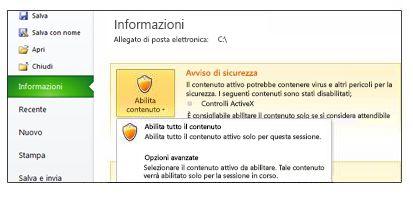 Area Avviso di sicurezza visualizzata quando non è possibile considerare attendibile un file