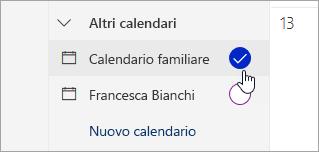 Schermata del calendario nel riquadro a sinistra