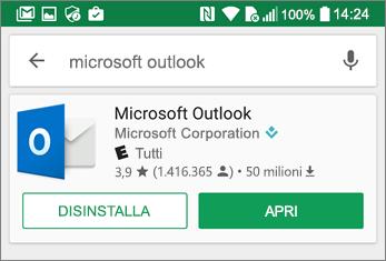 Toccare Apri per aprire l'app Outlook