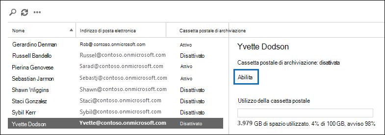 Fare clic su attiva nel riquadro dei dettagli dell'utente selezionato per abilitare la cassetta postale archivio