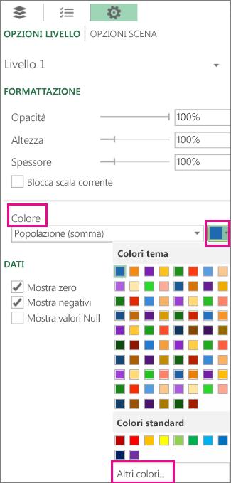 Downdown colore nella scheda Opzioni livello Settigns