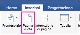 Pagina vuota evidenziato nella scheda Inserisci