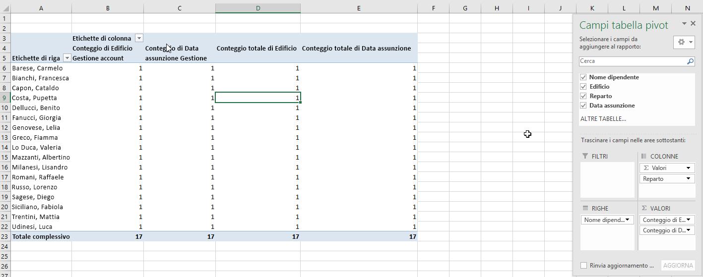 Selezionare i campi per la tabella pivot