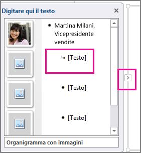 Riquadro Testo dell'elemento grafico SmartArt e controllo del riquadro Testo evidenziato