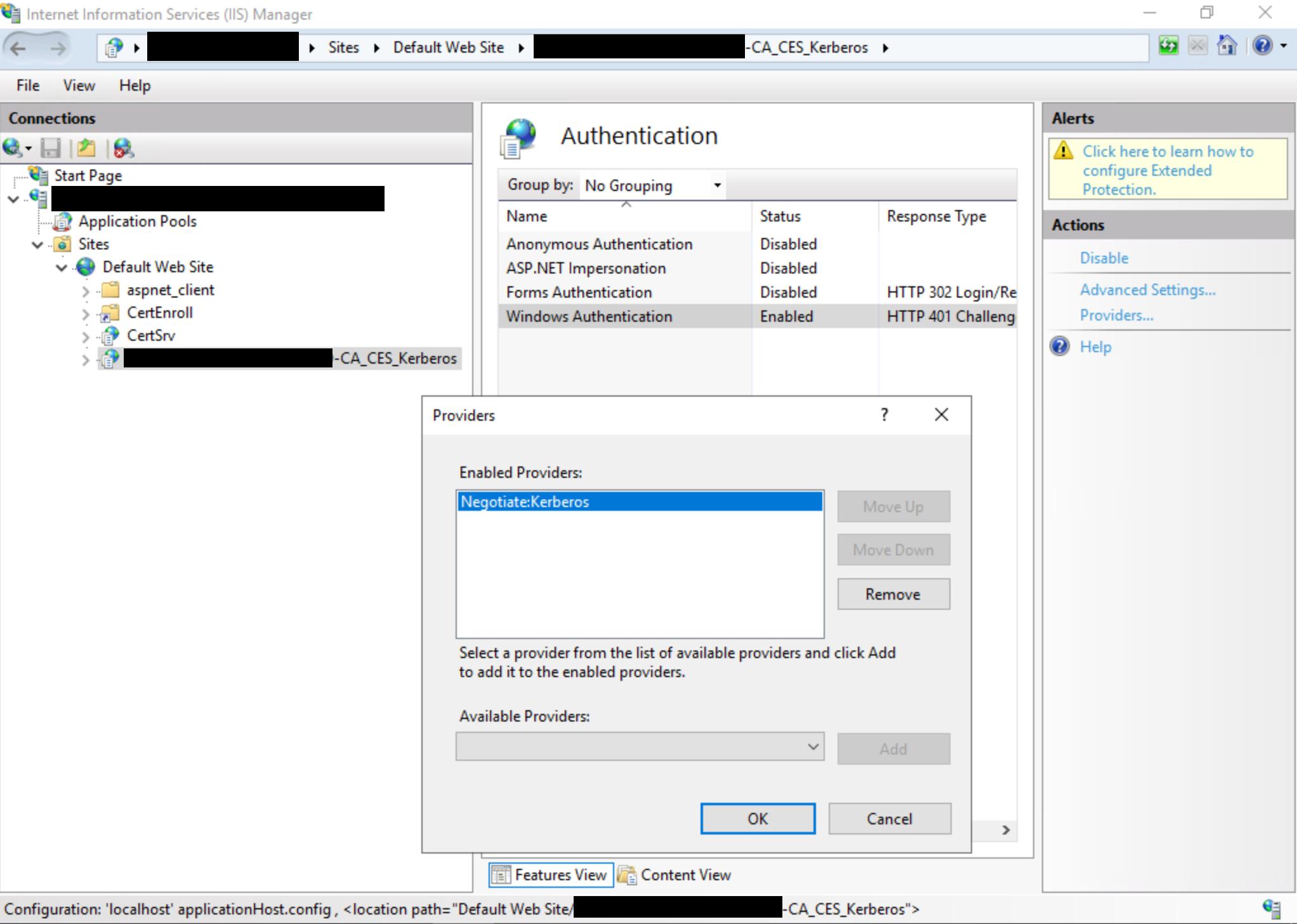 Visualizzazione della finestra di dialogo dell'interfaccia utente di Gestione IIS