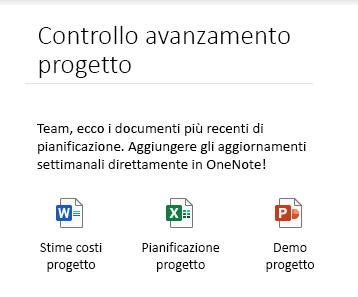 File incorporati in una pagina in OneNote per Windows 10