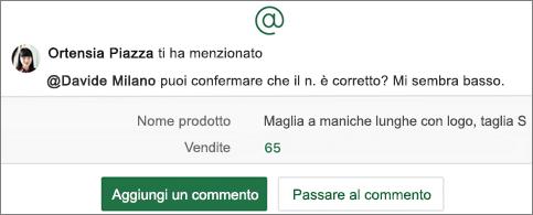Foglio di calcolo con @menzione e i pulsanti Aggiungi un commento e Vai al commento