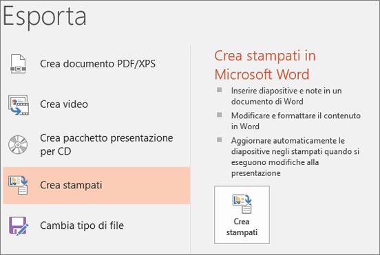 Ritaglio di schermata dell'interfaccia utente di PowerPoint con i comandi File > Esporta > Crea stampati.