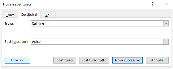 Finestra di dialogo Trova e sostituisci di Outlook.