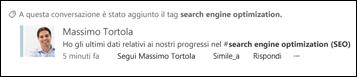Una conversazione del newsfeed associata a un tag