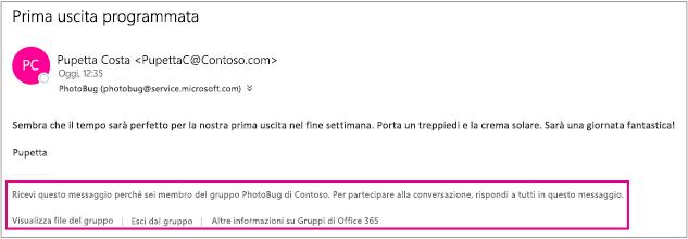 Tutti i messaggi di posta elettronica che il guest riceve dai membri del gruppo hanno un piè di pagina con istruzioni e collegamenti