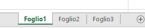 Le schede del foglio di lavoro di Excel sono visualizzate nella parte inferiore del riquadro di Excel