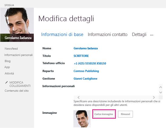 Schermata di Cambia immagine in SharePoint con il pulsante Carica immagine evidenziato