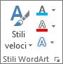 Gruppo Stili WordArt solo con le icone