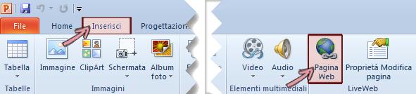 Il componente aggiuntivo LiveWeb si trova nella scheda Inserisci all'estrema destra della barra multifunzione