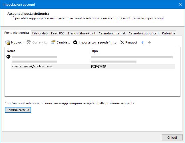 Finestra di dialogo Impostazioni account di Outlook