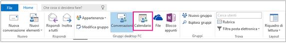 Pulsante Calendario sulla barra multifunzione dei gruppi in Outlook
