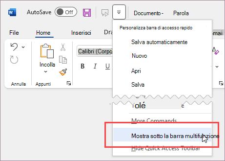 Visualizzare la barra di accesso rapido sotto la barra multifunzione