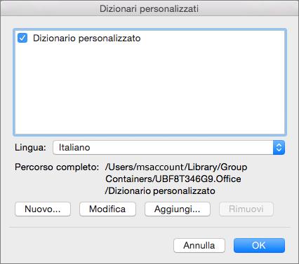 Nella finestra di dialogo Dizionari personalizzati è possibile aggiungere, modificare e selezionare dizionari personalizzati da usare per il controllo ortografico.
