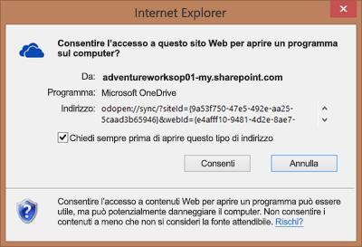 Screenshot della finestra di dialogo in Internet Explorer che chiede l'autorizzazione per aprire Microsoft OneDrive