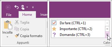 Screenshot dell'elenco di contrassegni in OneNote 2016.