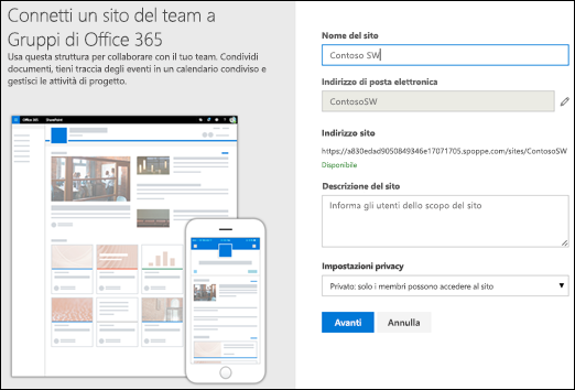 Nuovo sito del team di SharePoint