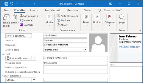 Aggiungere un contatto in Outlook