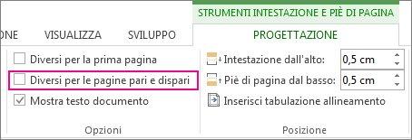 Opzioni Intestazione e Piè di pagina