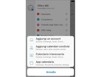 Riquadro delle impostazioni sullo sfondo e menu con comandi per il Calendario in primo piano