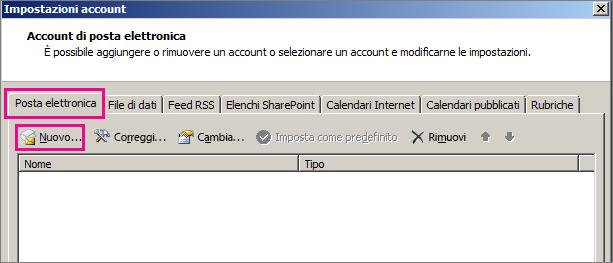Screenshot della scheda Posta elettronica nella finestra di dialogo Impostazioni account.
