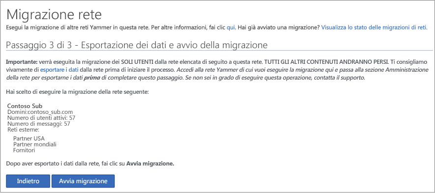 Screenshot del passaggio 3 di 3 - Esportazione dei dati e avvio della migrazione