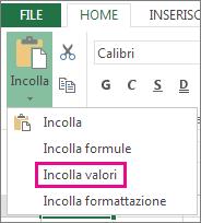 Comando Incolla con visualizzato Incolla valori in Excel Web App