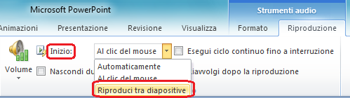 "Opzione ""Riproduci tra diapositive"" per un file audio in PowerPoint 2010"