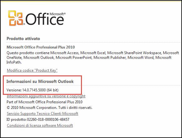 Screenshot della pagina in cui controllare la versione di Outlook 2010, in Informazioni su About Microsoft Outlook