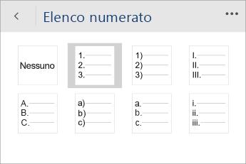 Screenshot del menu Elenchi numerati in Word Mobile con uno stile di numerazione selezionato.