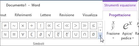 Fare clic sulla freccia Altro per visualizzare altri simboli matematici