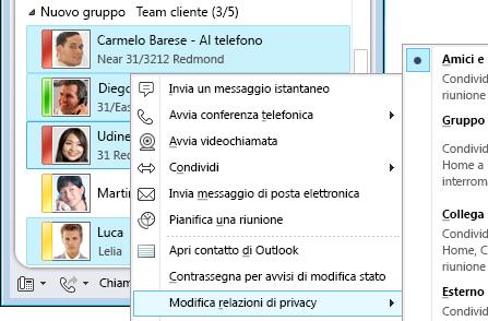 Personalizzare le informazioni di contatto