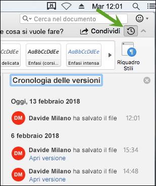Il pulsante Cronologia versioni apre il riquadro Cronologia versioni che consente di selezionare versioni precedenti del documento