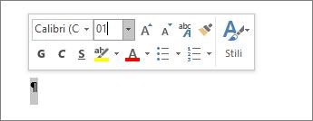 Impostare le dimensioni del carattere su 1