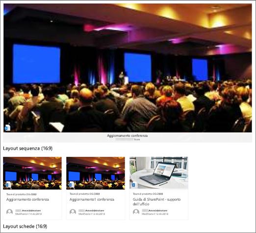 Esempi di immagini della web part contenuto evidenziato