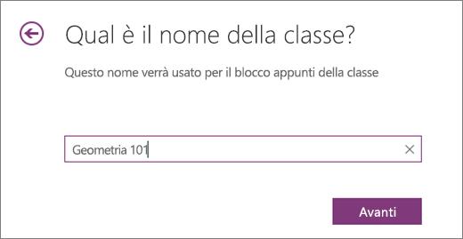 Digitare un nome per il blocco appunti della classe e fare clic su Avanti.