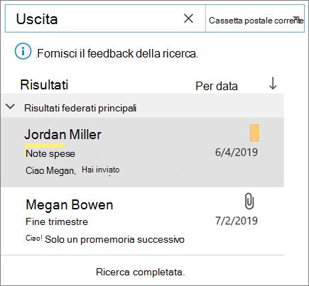 Uso della ricerca per trovare la posta elettronica in Outlook