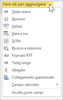 """Aggiungere una nuova colonna di tabella, digitare """"Ricerca e relazione"""""""