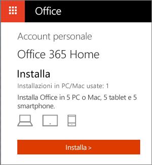 Pagina Account personale nell'Office Store con il pulsante Installa