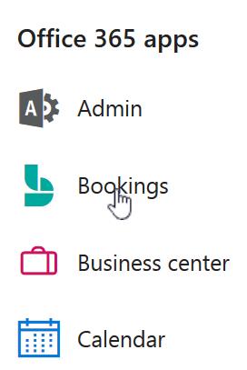Icona di avvio delle app con il riquadro Bookings evidenziato